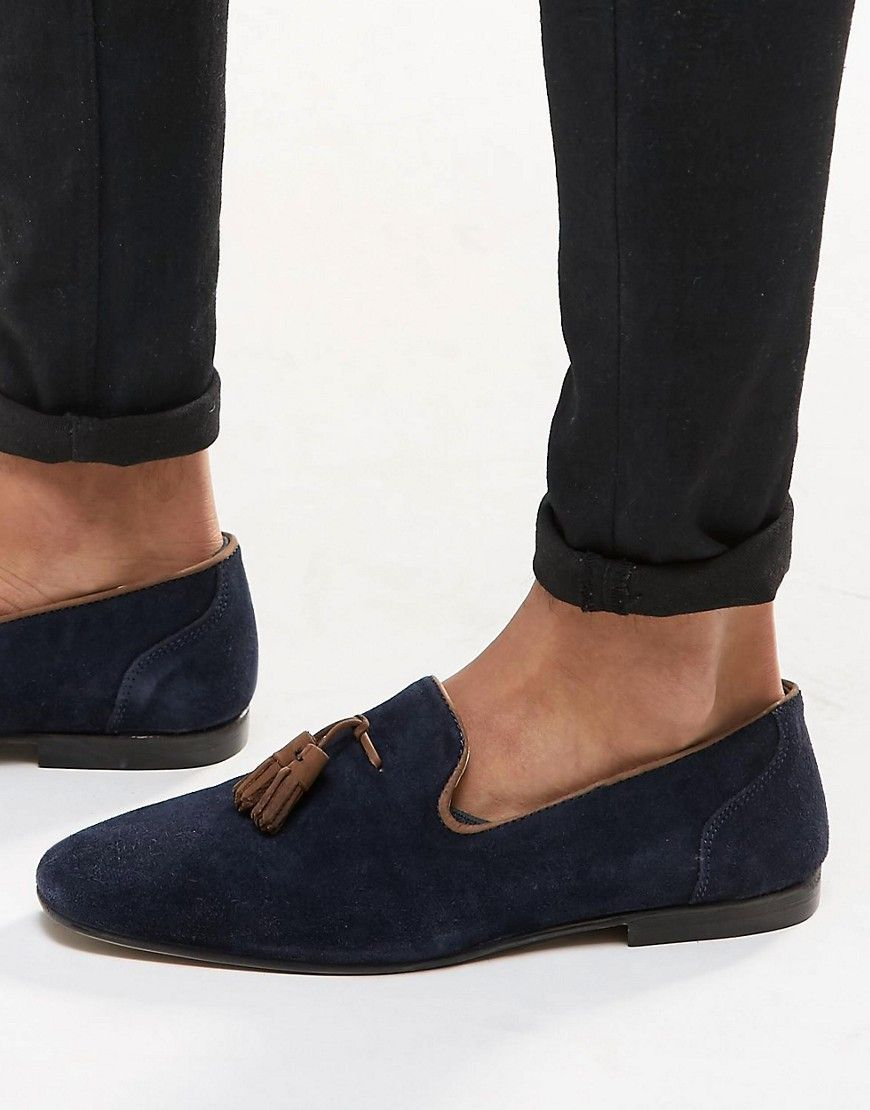df650ee49b6 ASOS Tassel Loafers in Suede - Navy