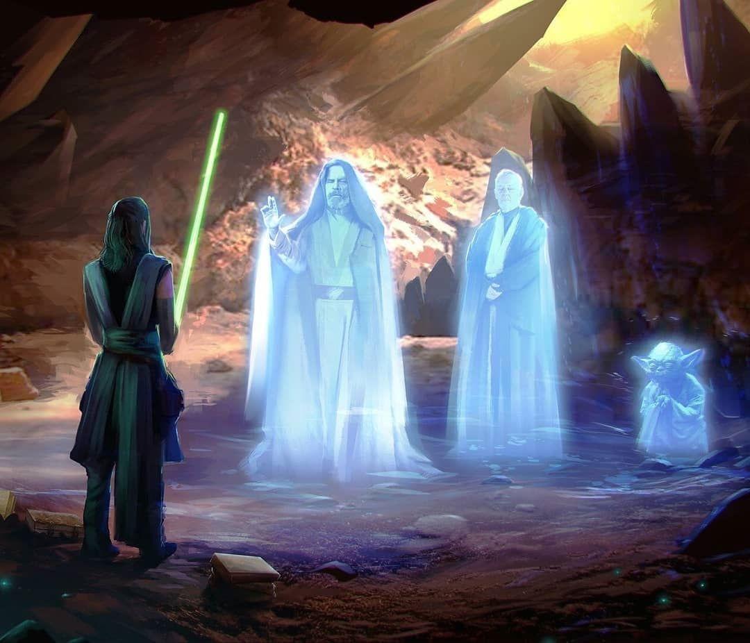 Would You Like To See The Appearances Of Luke Skywalker And Obi Wan Kenobi Force Ghosts In Episode 9 Art By W Star Wars Fandom Star Wars Art Star Wars Droids