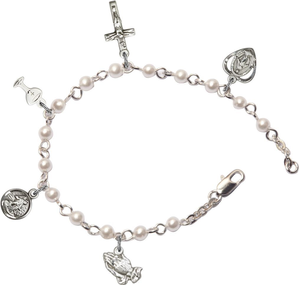First communion jewelry silver pearl charm bracelet rosary