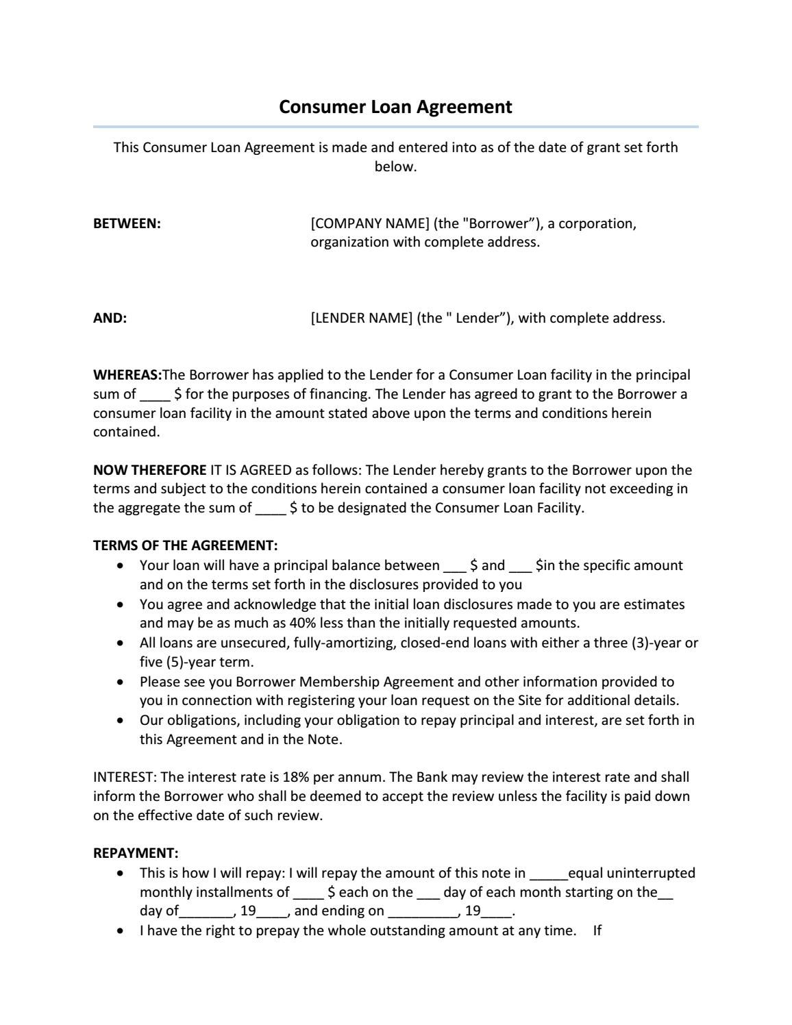 Consumer Loan Agreement Sample In 2018 Agreement Templates Pinterest