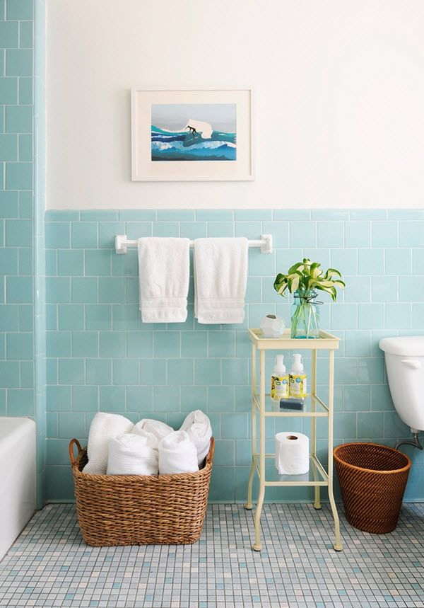 40 Retro Blue Bathroom Tile Ideas And Pictures Blue Bathroom Tile Modern Bathroom Decor Bathroom Inspiration