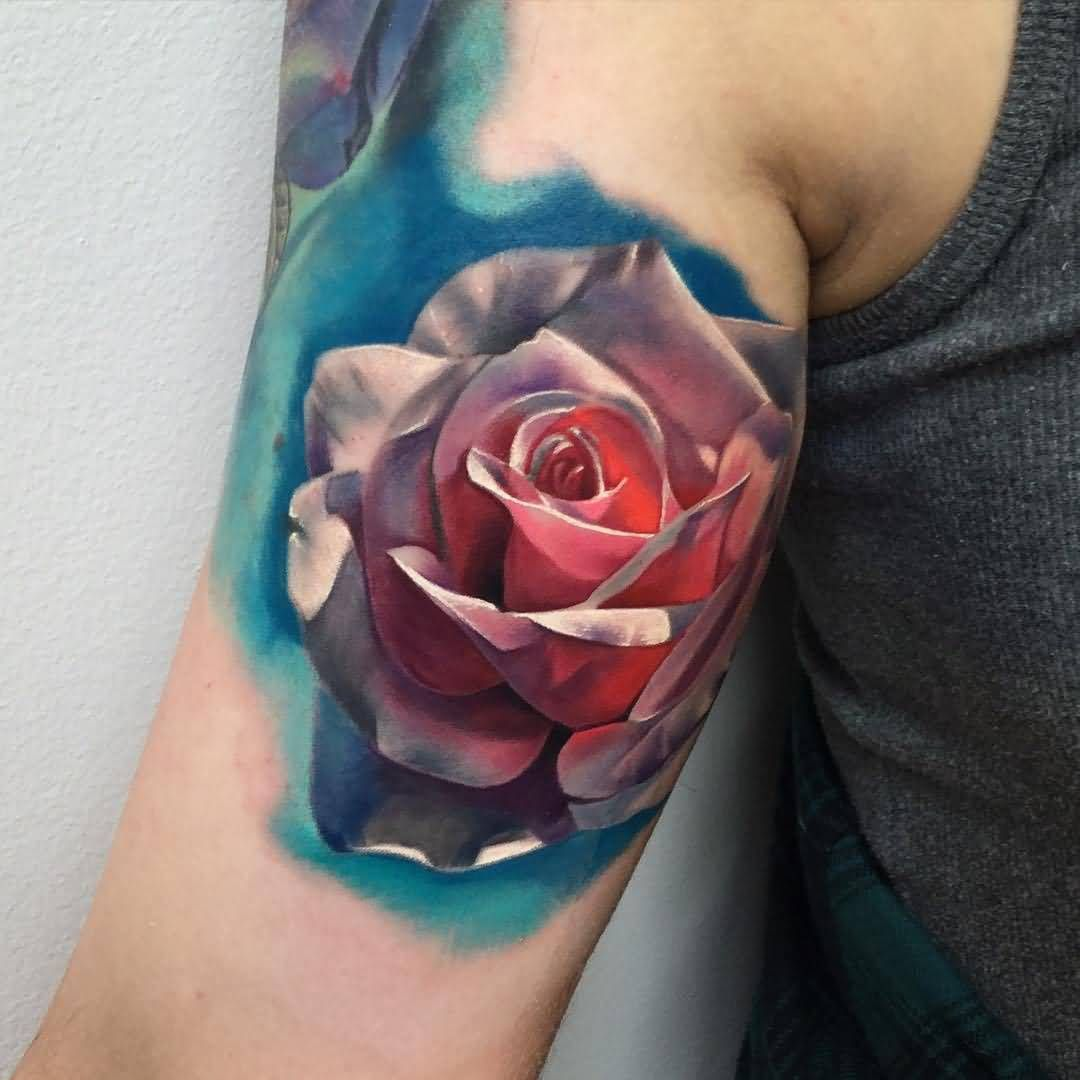Upper Sleeve Coolest Realistic Rose Tattoo Design For Men