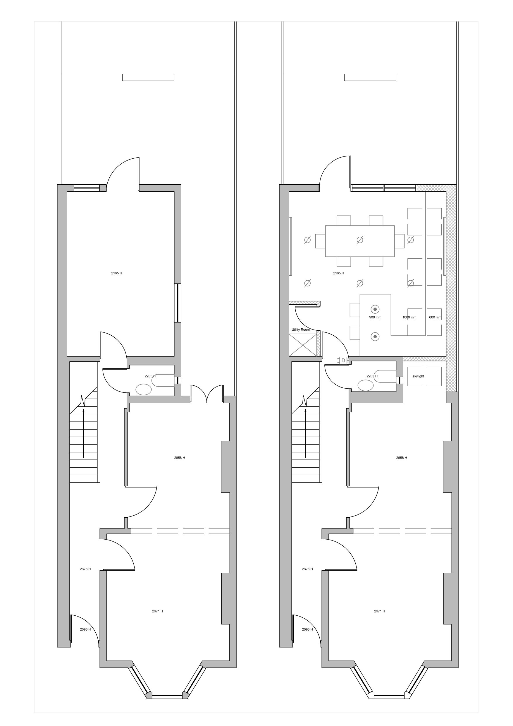 1 Existing And Proposed Floorplan Unlabelled1 Jpg 1754 2481 Victorian Terrace Kitchen Extension House Extensions
