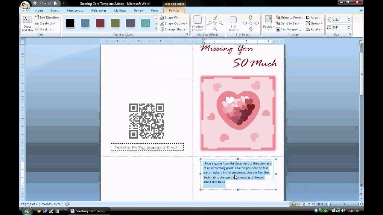Ms Word Tutorial Part Greeting Card Template Inserting And for Birthday  Card Publisher Template in 2020 | Free greeting card templates, Birthday  card template, Card template