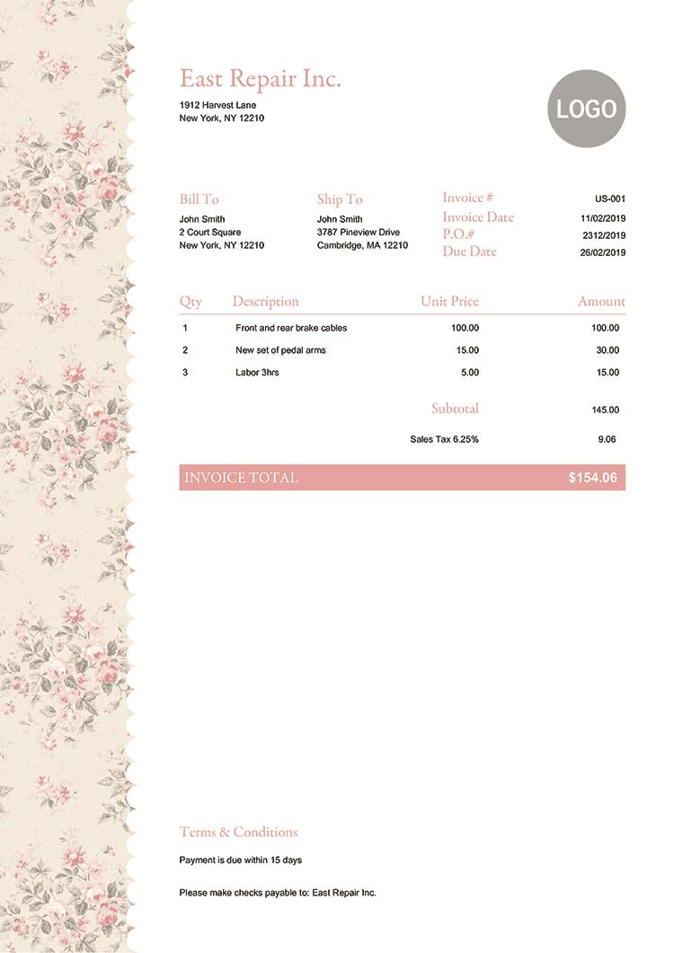 Invoice Template Us Flowers Invoice Template Invoice Design Free Receipt Template