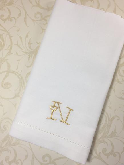 Heart Monogrammed Cloth Napkins Set Of 4