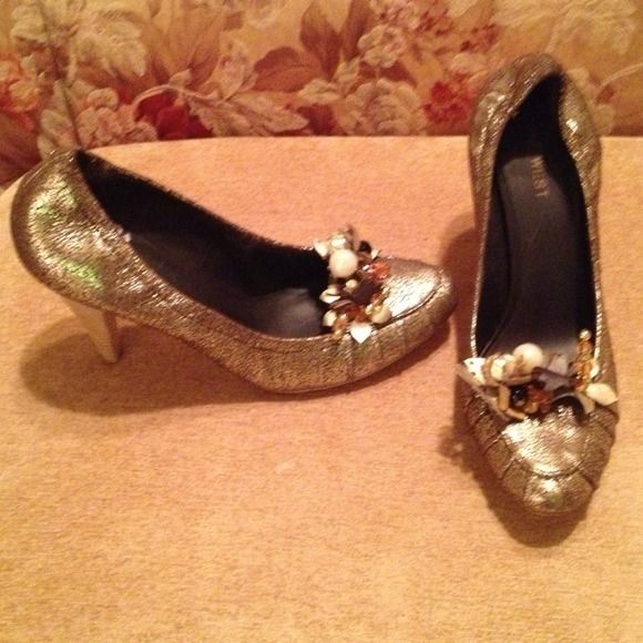 HP - 4/20/15   Gold Pumps Style - Freelance...Bejeweled shiny Gold pump with wooden heel Nine West Shoes Heels