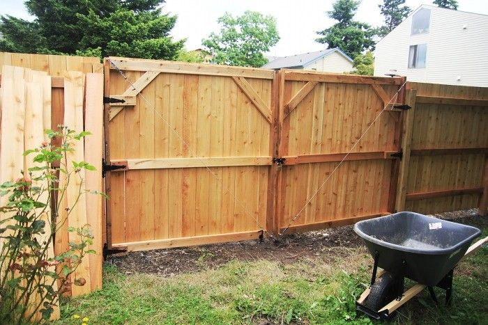 The Inside Of A Stockade Wood Privacy Fence And Double Gate Wood Privacy Fence Wood Fence Design Fence Gate Design
