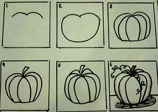 how to draw pumpkins...step by step   Autumn   Fall art ...