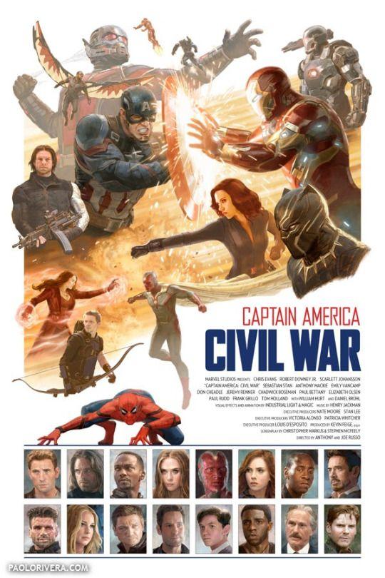 Captain America Civil War Poster - Paolo Rivera