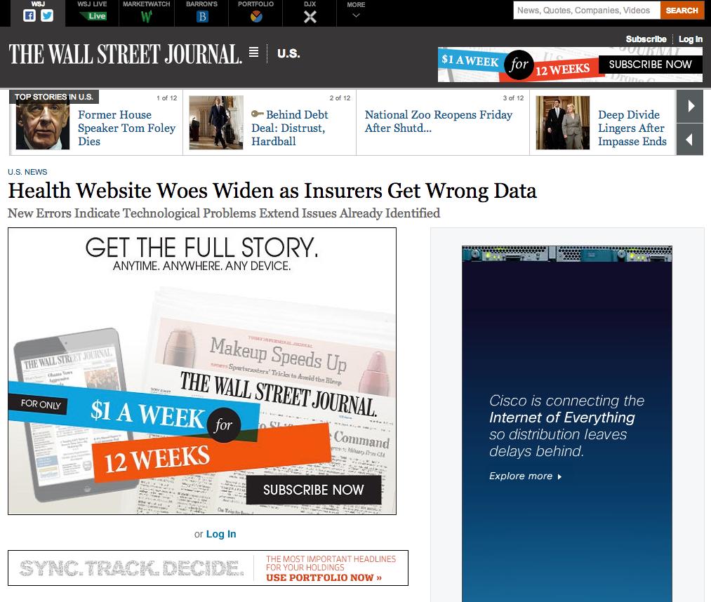 Wall Street Journal Website Down