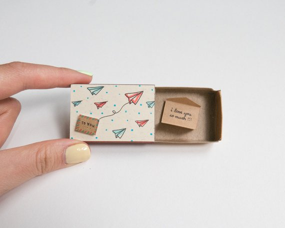 Romantic Love Card/ Cute Love Matchbox-card/ Unique Love gift/ Paper planes To you/ Envelope/ I Love