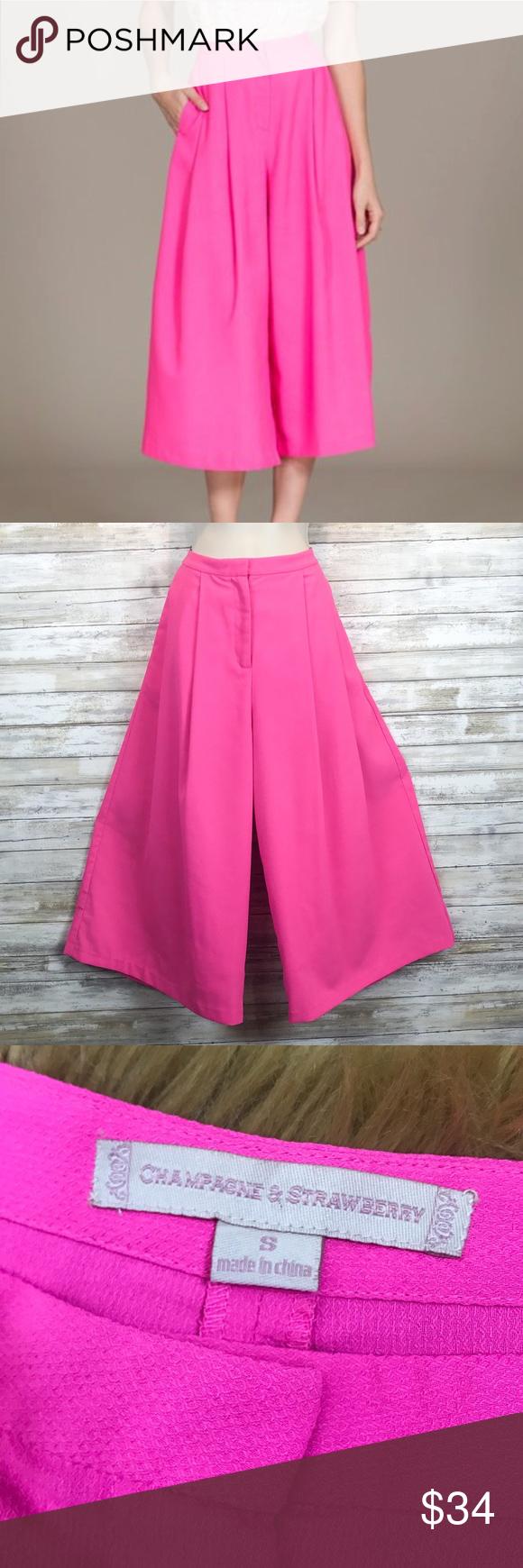 dff5a16fa037 Champagne   Strawberry gaucho pants sz S Champagne   Strawberry pink gaucho  pants 100% polyester