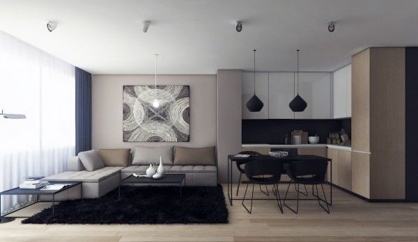 26 Living Rooms That Put A Unique Spin On What Modern Means Modern Living Room Interior Small Apartment Living Room Living Room And Kitchen Design Living room and kitchen means