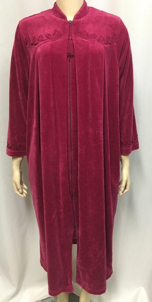 Cabernet Petites Robe PL Large Cranberry Velour Modest Long Front Zip Lounge   Cabernet  Robes 3b56f7923