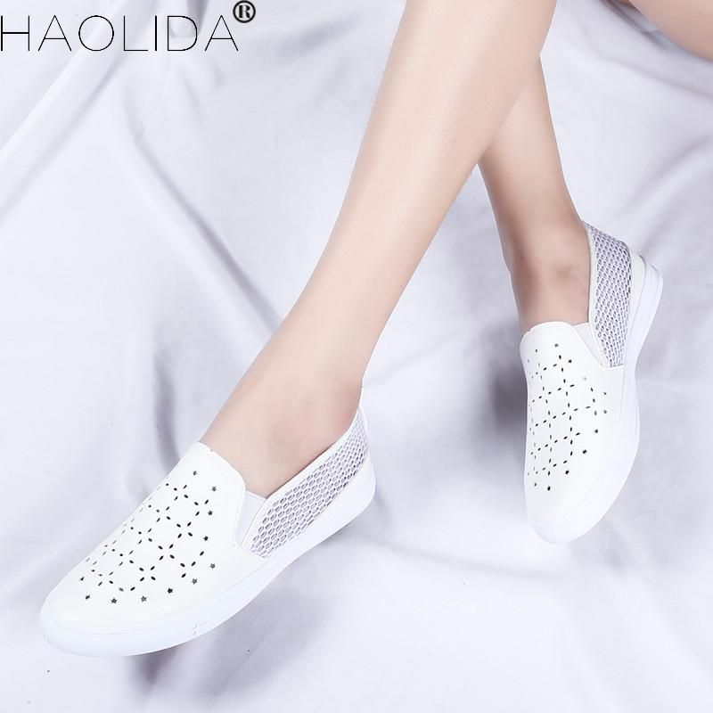 80a8a0f2173e9e 2018 New Summer Women s Shoes Genuine Leather Flats Shoes Female Casual  Flat Woman Loafers Leather White