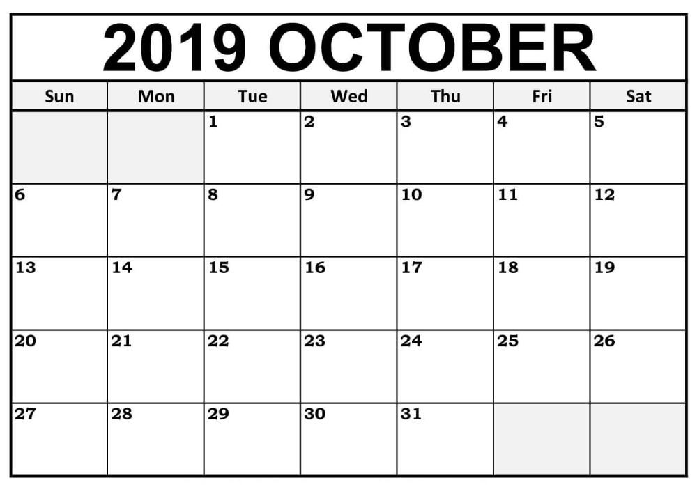 October 2019 Calendar Printable Cute For Word Editable