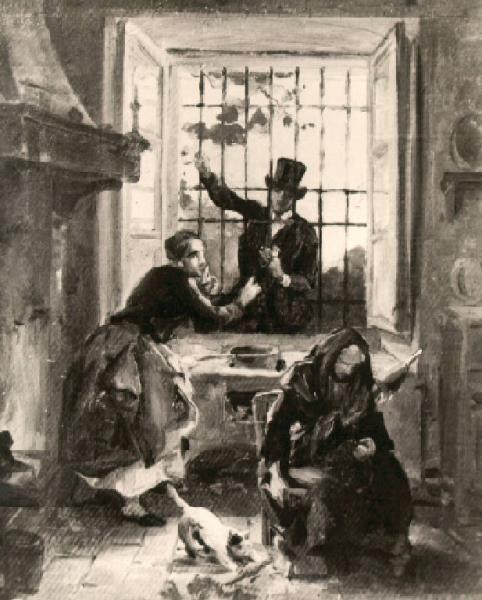 Veduta di un interno di cucina - Angelo Inganni