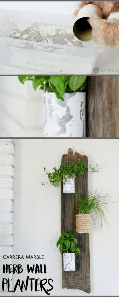 DIY Herb Wall Planter  Compact and RECYCLED!! Lilyardor is part of garden Planters Wall - DIY Herb Wall Planters Oh boy I can't wait to use some of these purdy herbs  😀 Let me start of by saying 90% of this project is recycled materials  Tin cans, barn wood, and some paint is all you'll need  The benefits of having a vertical herb garden is that it's very space friendly  …