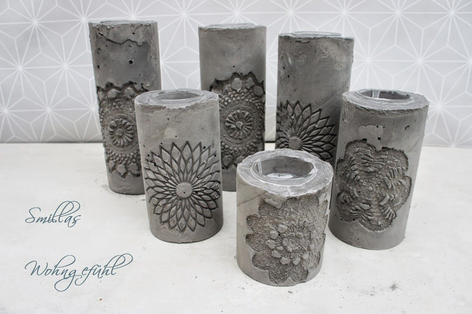diy concrete candle holder kerzenst nder aus zement. Black Bedroom Furniture Sets. Home Design Ideas