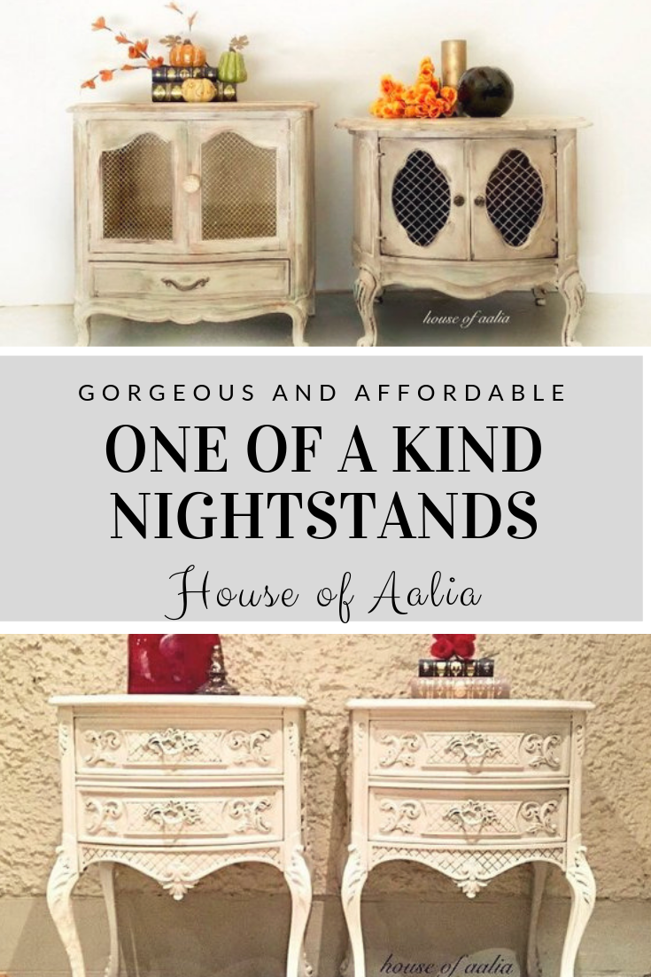 This His And Hers Set Of French Provincial Bedside Tables Is Truly Unique And Amazing Drum Tables Painted Night Stands Pair Bedside Tables Colorful Furniture