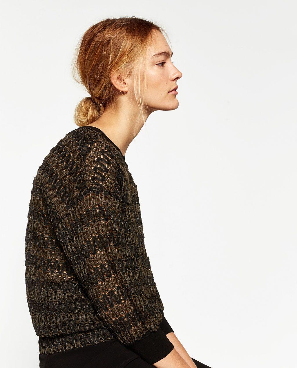 CROPPED JACQUARD SWEATER-Sweaters-KNITWEAR-WOMAN | ZARA United ...