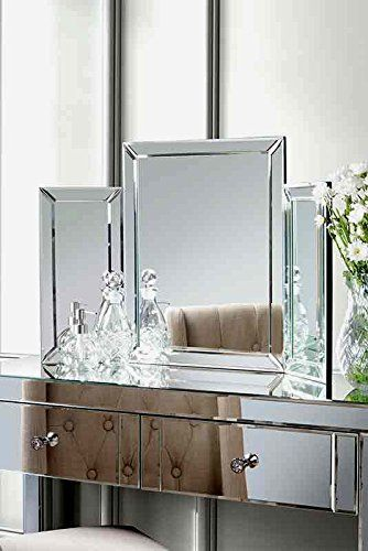 Mirrored Bedroom Furniture-Triple Folding Dressing Table