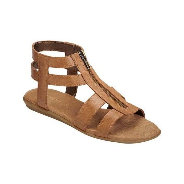 Women's Aerosoles Encychlopedia Cage Sandal - Light Tan Faux Leather... ($50) ❤ liked on Polyvore featuring shoes, sandals, cage shoes, casual, faux leather gladiator sandals, aerosoles sandals, gladiator shoes, flat shoes and tan gladiator sandals
