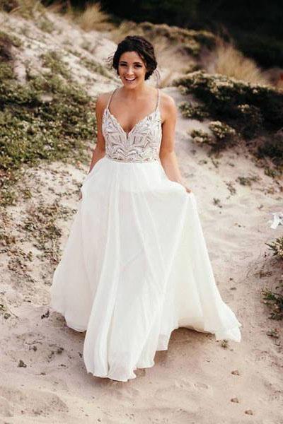 341355a6209b Spaghetti Strap Beaded Wedding Dress Ivory Chiffon V Neck Rustic Wedding  Dresses on sale – PromDress.me.uk .#bohowedding #bohoweddingdresses # weddingdresses ...