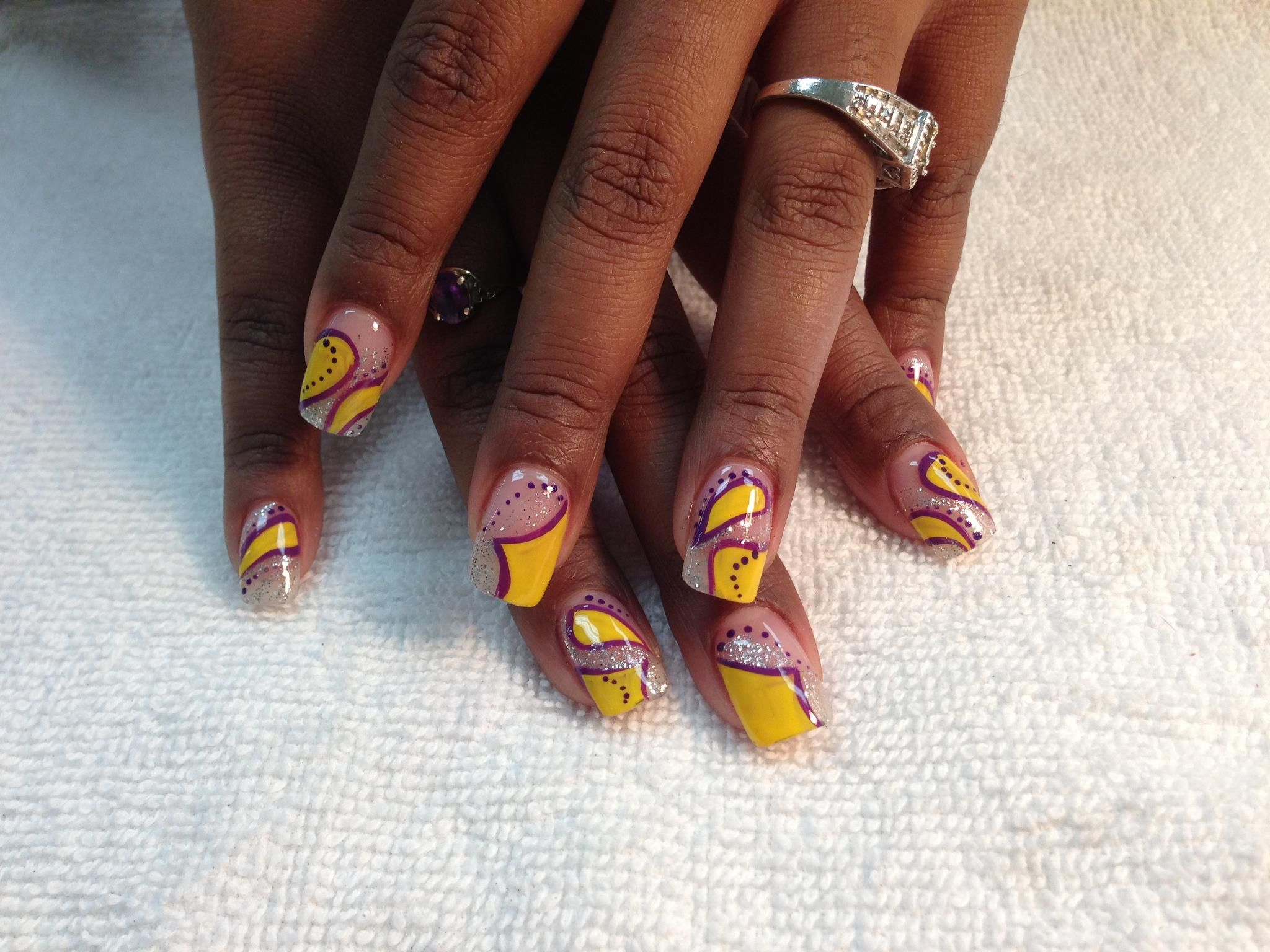 purple nail art, yellow nail art, lsu nails, detailed nail art ...