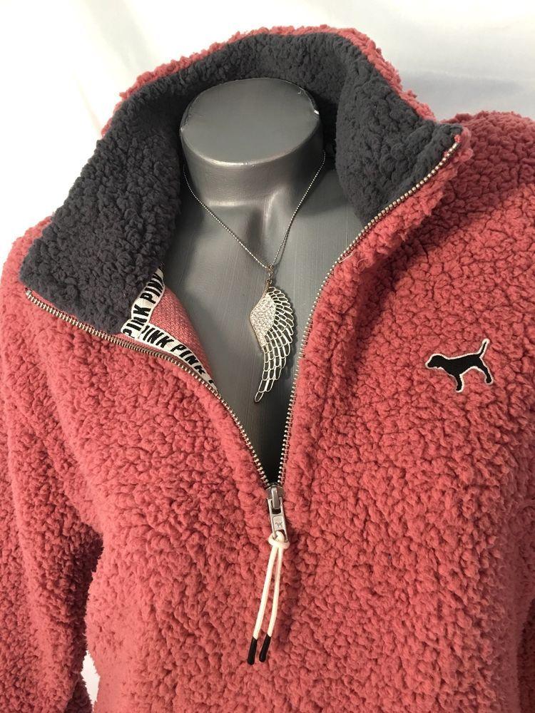 Victorias Secret PINK Sherpa 1/4 Zip Jacket Begonia Pink MEDIUM ...