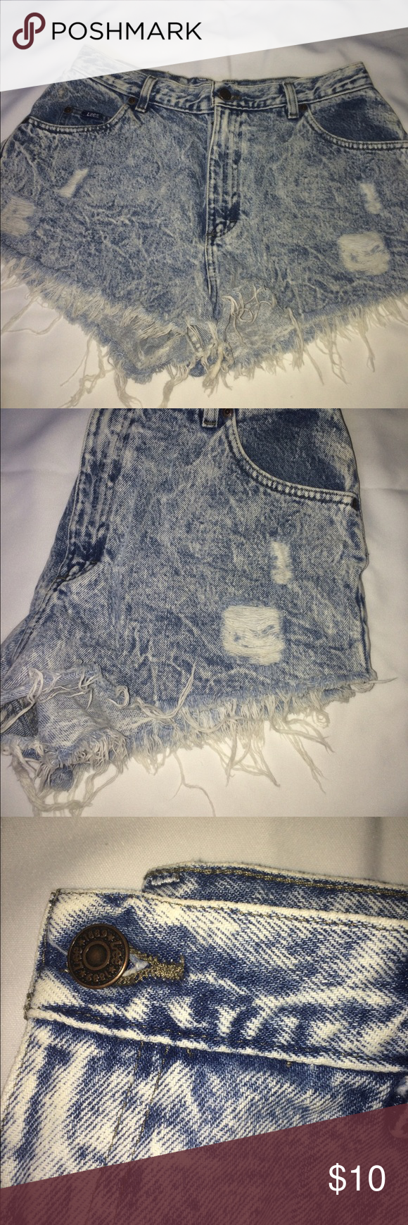 Lee recycled urban outfitter high waisted shorts Recycled | distressed | worn once great condition | no damages | bundle! For flat rate shipping Urban Outfitters Shorts Jean Shorts