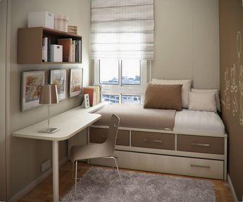 Kleines Kinderzimmer Raumgestaltung Bett Bettkasten Schreibtisch Beige Braun