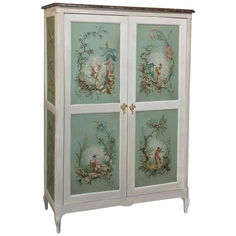 19th Century French Chinoiserie Hand Painted Armoire Or Cabinet With Faux  Marble | From A