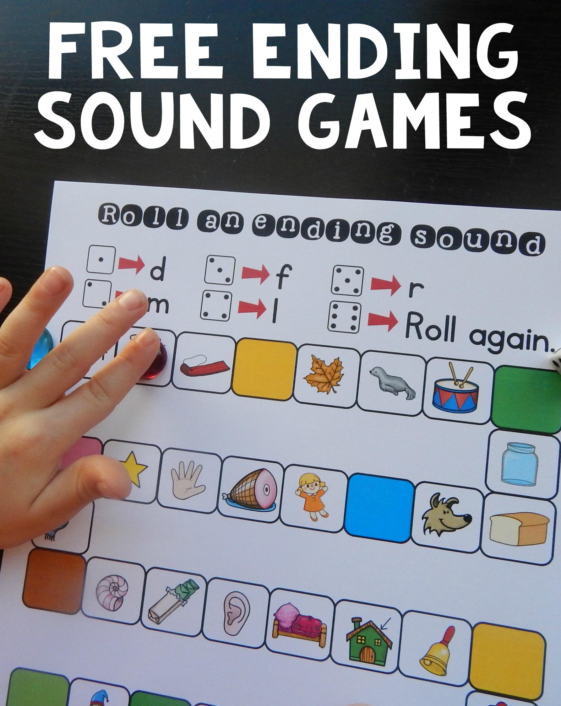 Free no prep ending sound games