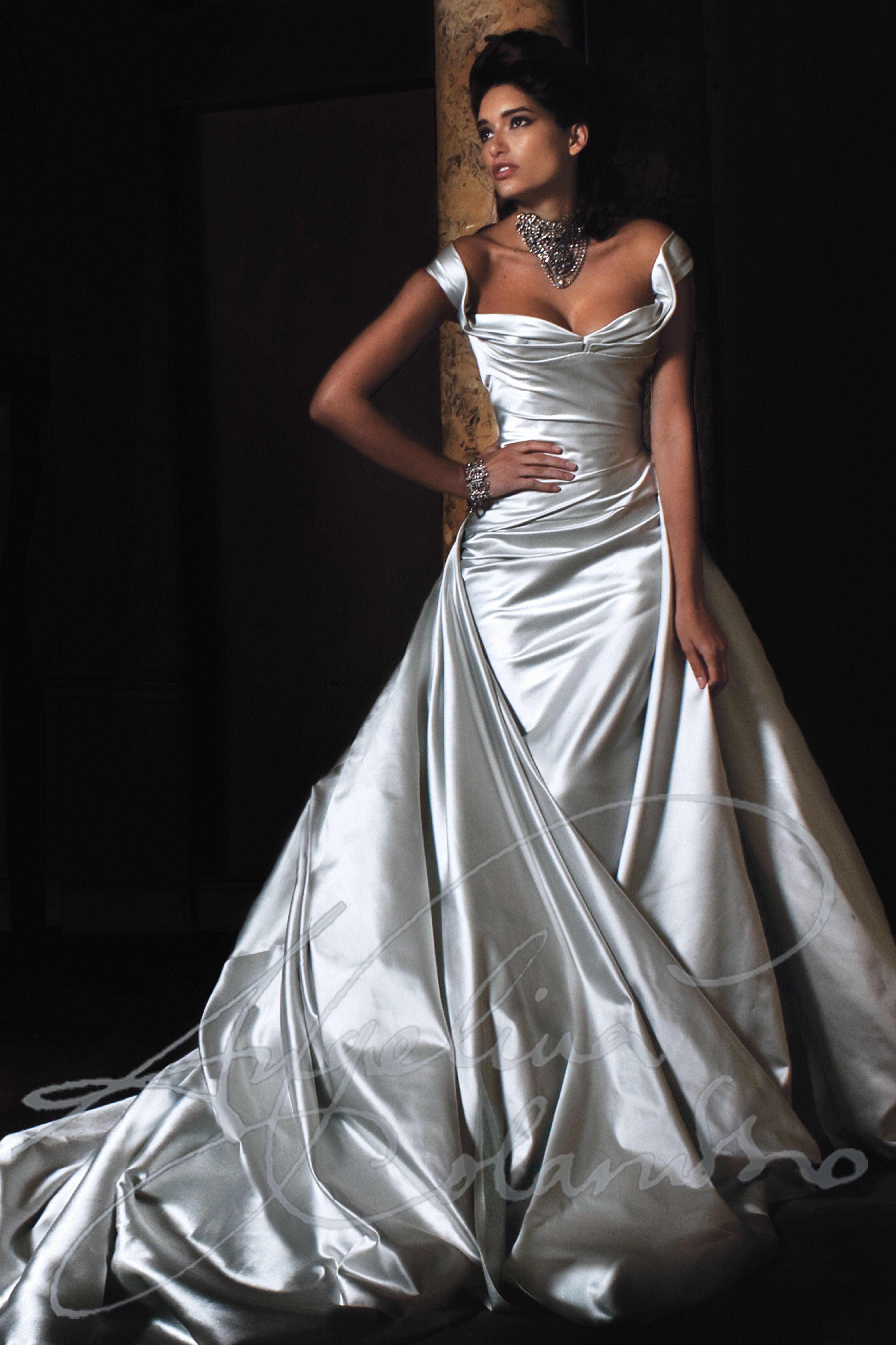 Stunning silver silk duchess satin wedding gown by couture for Silver satin wedding dress