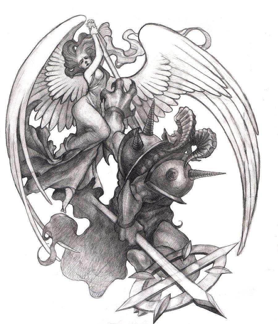 Good Vs Evil By Misha Dragonov On Deviantart Drawings Tattoo Drawings Sketches