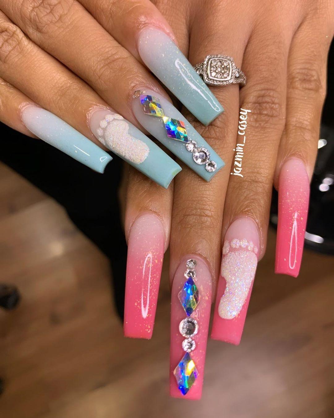 Jazmin Nail Bo On Instagram Oh Baby Gender Reveal Nails For My Good Sis Ebonecamille In 2020 Gender Reveal Nails Bling Acrylic Nails Neon Acrylic Nails