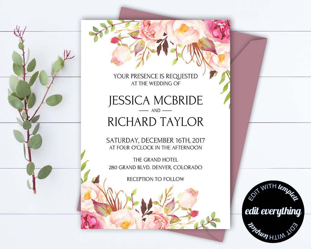 floral wedding invitation printable wedding invitations printable
