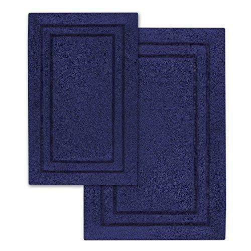 Superior 2Piece Cotton Non Skid Bath Rug Set Navy Blue