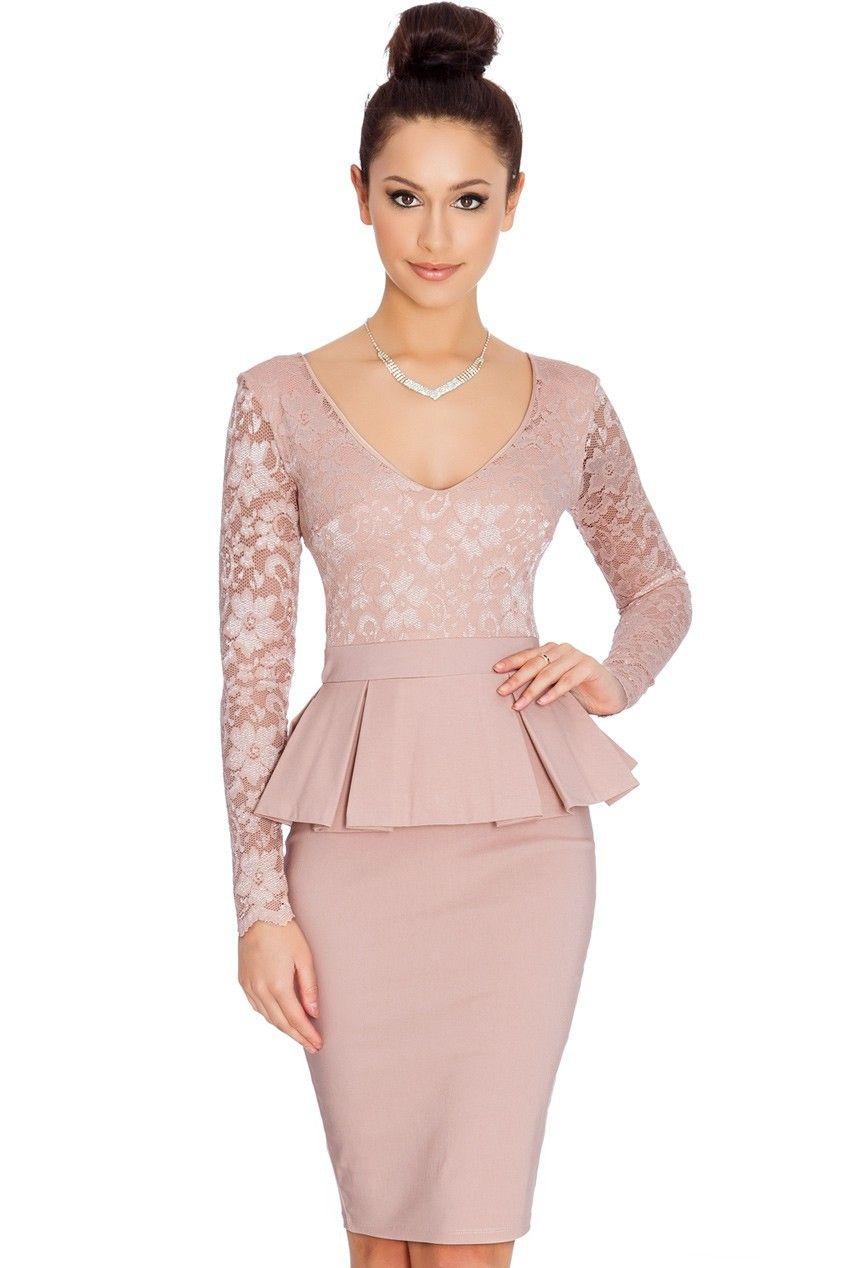 NEM065 Long sleeve peplum dress Deep V neck sexy lace dress plus ...