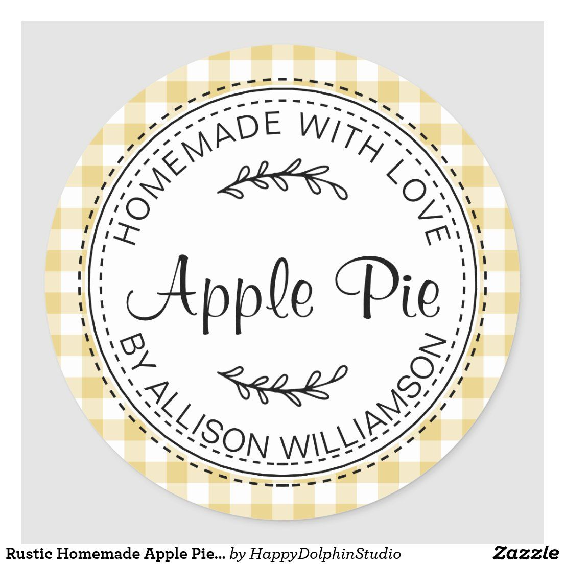 Rustic Homemade Apple Pie Yellow Check Classic Round Sticker Zazzle Com In 2021 Homemade Apple Homemade Apple Pies Apple Pie