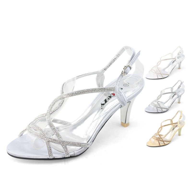 Womens Low Heels Shoes Satin Silver White Gold Wedding Bridal Dress Cheap Sales In Clothing