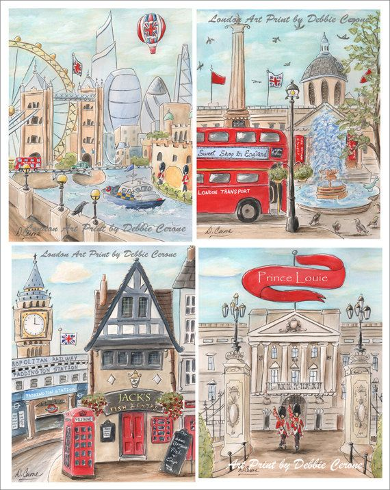 London british themed art prints for boy or girl there are 4 london british themed art prints for boy or girl there are 4 prints in set baby gifts negle Images