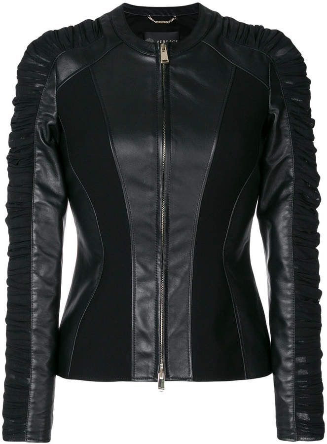 492588a6f5cd Versace ruched leather jacket