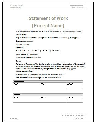 Statement of Work Contract Example Mashcor Pinterest - contract for construction work template