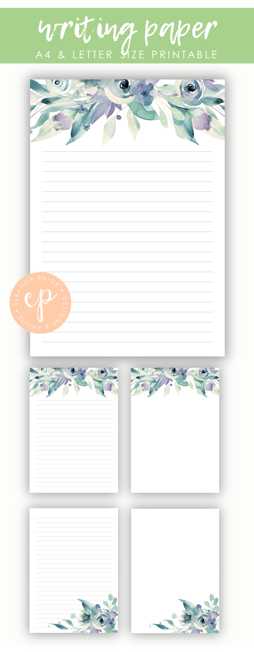 Floral Writing Paper Printable Blue Watercolor Flower Lined Notes