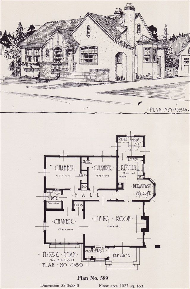 Design no 589 1926 portland homes plan book by universal for English tudor cottage house plans