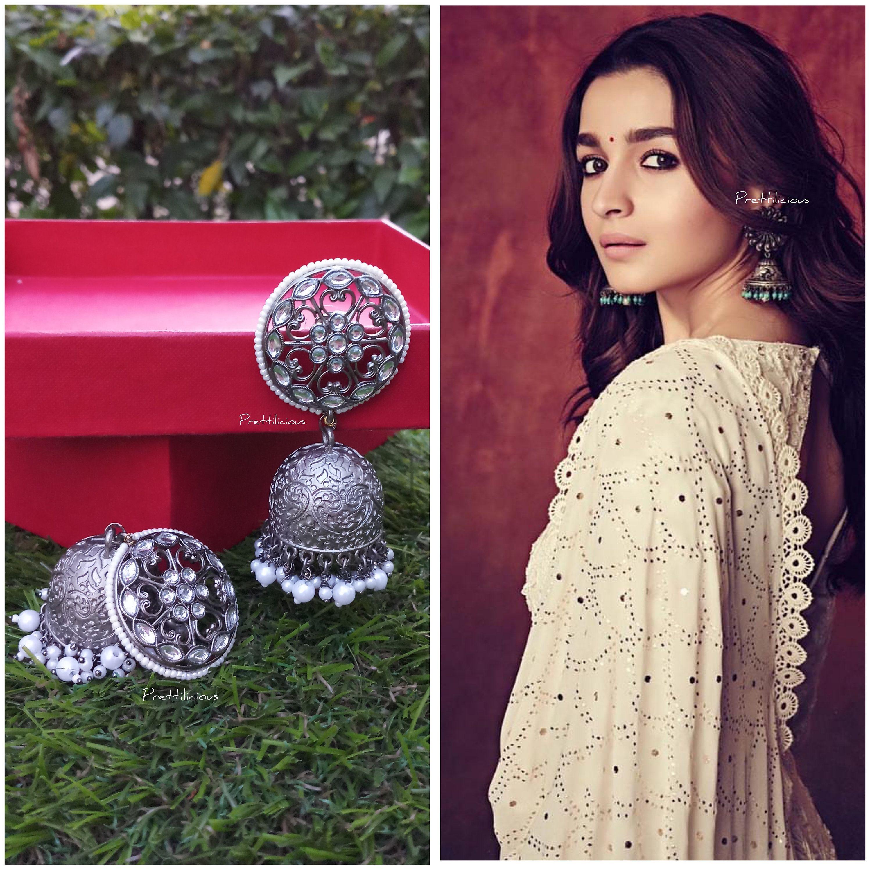 Indian Jewelry Statement Jewelry Oxidised Handmade Earrings Antique Look oxidize jewelry oxidise mirror earring Trending indian jhumka