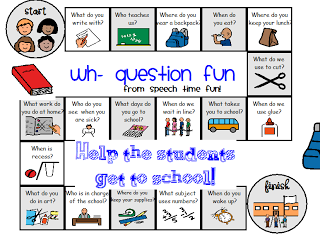 Speech Time Fun: Back to School Wh- Game Board